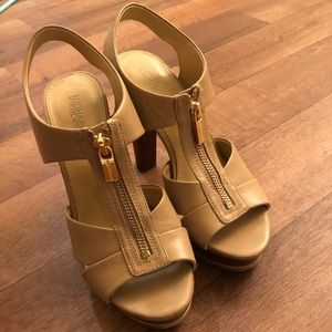 Michael Kors bishop platform heels tan color